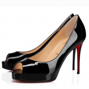 Christian Louboutin Black Patent New Very Prive 100mm Pumps