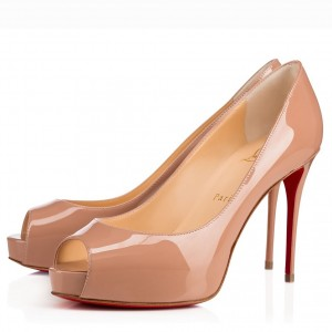 Christian Louboutin Nude Patent New Very Prive 100mm Pumps