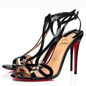 Christian Louboutin Black Patent Double L 100mm Sandals