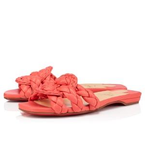 Christian Louboutin Orange Nappa Marmela Flat Sandals