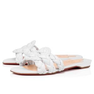 Christian Louboutin White Nappa Marmela Flat Sandals