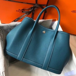 Hermes Garden Party 30 Bag In Blue Jean Clemence Leather