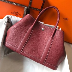 Hermes Garden Party 30 Bag In Bordeaux Clemence Leather