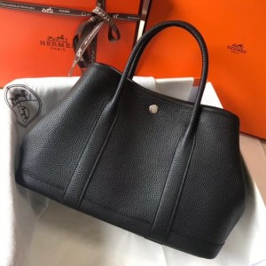 Hermes Garden Party 30 Bag In Black Clemence Leather