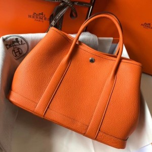 Hermes Garden Party 30 Bag In Orange Clemence Leather