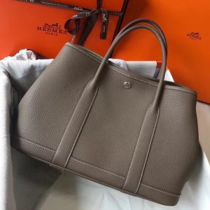 Hermes Garden Party 30 Bag In Taupe Clemence Leather
