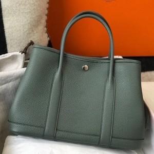 Hermes Garden Party 30 Bag In Vert Amande Clemence Leather