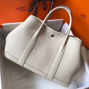 Hermes Garden Party 30 Bag In White Clemence Leather