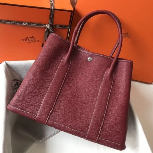 Hermes Garden Party 36 Bag In Bordeaux Clemence Leather