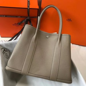 Hermes Garden Party 36 Bag In Grey Clemence Leather