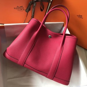 Hermes Garden Party 36 Bag In Rose Tyrien Clemence Leather