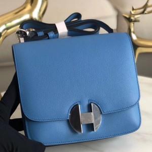 Hermes 2002 20cm Bag In Blue Paradise Evercolor Calfskin
