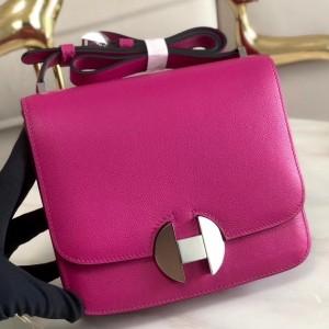 Hermes 2002 20cm Bag In Rose Purple Evercolor Calfskin