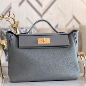 Hermes 24/24 29 Bag In Blue Glacier Clemence Calfskin