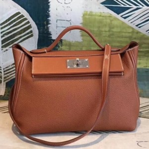 Hermes 24/24 29 Bag In Brown Clemence Calfskin