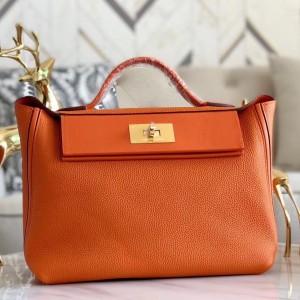 Hermes 24/24 29 Bag In Orange Clemence Calfskin