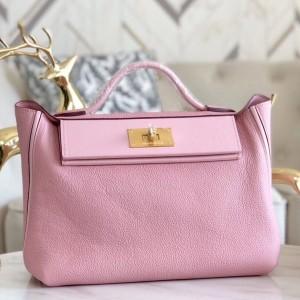 Hermes 24/24 29 Bag In Pink Clemence Calfskin
