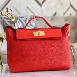 Hermes 24/24 29 Bag In Red Clemence Calfskin