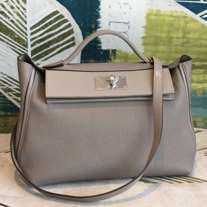 Hermes 24/24 29 Bag In Gris Asphalt Clemence Calfskin