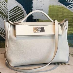 Hermes 24/24 29 Bag In White Clemence Calfskin