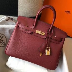 Hermes Birkin 25cm Bag In Bordeaux Clemence Leather