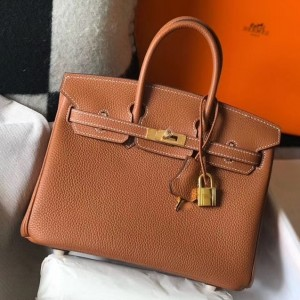 Hermes Birkin 25cm Bag In Gold Clemence Leather