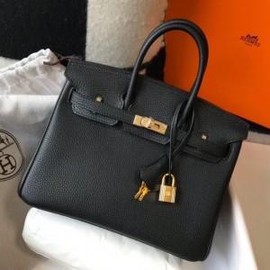 Hermes Birkin 25cm Bag In Black Clemence Leather