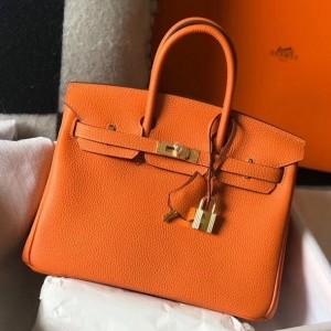 Hermes Birkin 25cm Bag In Orange Clemence Leather