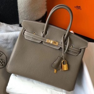 Hermes Birkin 25cm Bag In Taupe Clemence Leather
