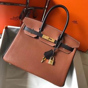 Hermes Bi-Color Birkin 30cm Bag In Brown/Black Clemence Leather