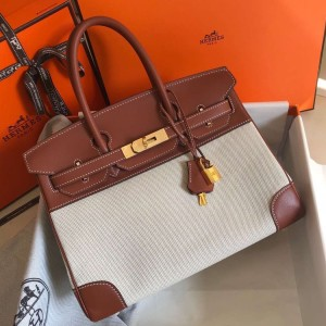 Hermes Birkin 30cm Bag In Toile H Canvas With Barenia Leather