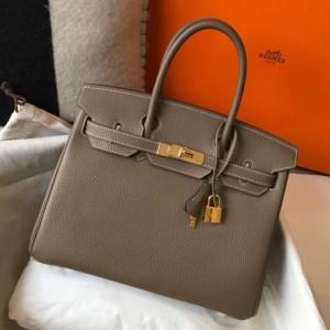 Hermes Taupe Clemence Birkin 30cm Bag