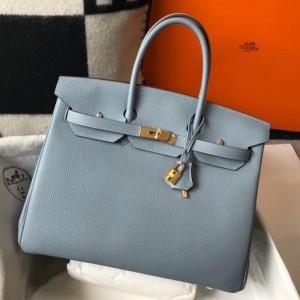 Hermes Blue Lin Clemence Birkin 35cm Bag