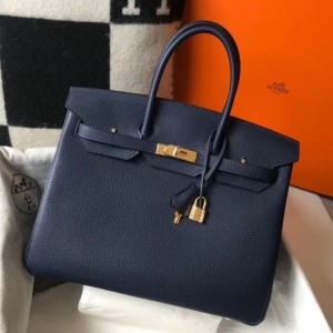Hermes Navy Blue Clemence Birkin 35cm Bag