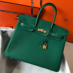 Hermes Malachite Clemence Birkin 35cm Bag