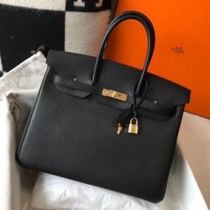 Hermes Black Clemence Birkin 35cm Bag