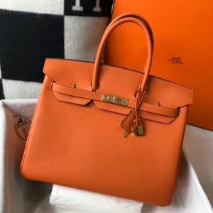 Hermes Orange Clemence Birkin 35cm Bag