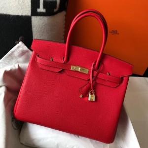 Hermes Red Clemence Birkin 35cm Bag