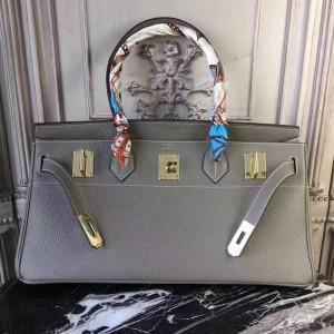 Hermes Lin Blue JPG Birkin 42cm Shoulder Bag