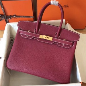 Hermes Ruby Birkin 30cm Clemence Handmade Bag
