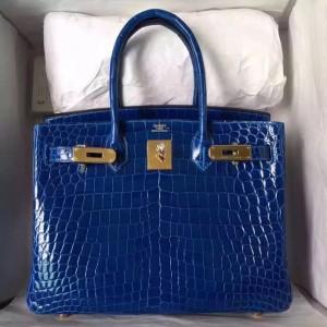 Hermes Blue Electric Birkin 30cm Crocodile Niloticus Shiny Bag