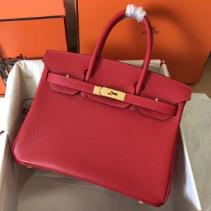 Hermes Red Birkin 30cm Epsom Handmade Bag