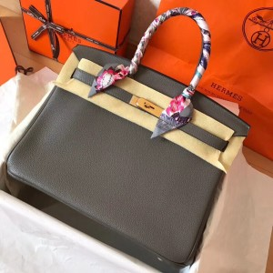 Hermes Ardoise Birkin 35cm Clemence Handmade Bag