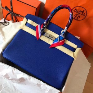 Hermes Blue Electric Birkin 35cm Clemence Handmade Bag