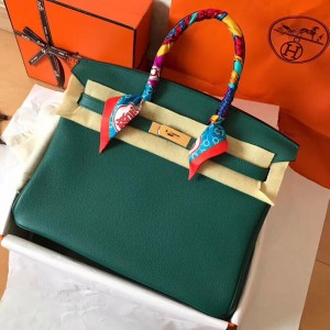 Hermes Malachite Birkin 35cm Clemence Handmade Bag