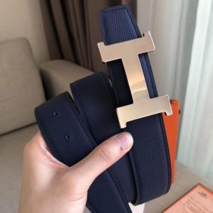 Hermes Constance Belt Buckle & Blue Epsom 38 MM Strap