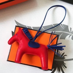 Hermes Rodeo Horse Bag Charm In Red/Blue Leather