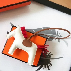Hermes Rodeo Horse Bag Charm In White/Camarel/Red Leather