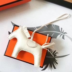 Hermes White Rodeo Horse Bag Charm
