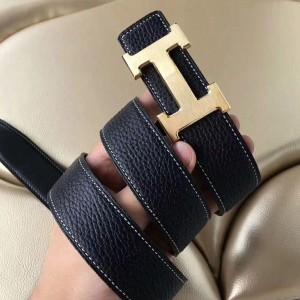 Hermes H Belt Buckle & Black Clemence 32 MM Strap